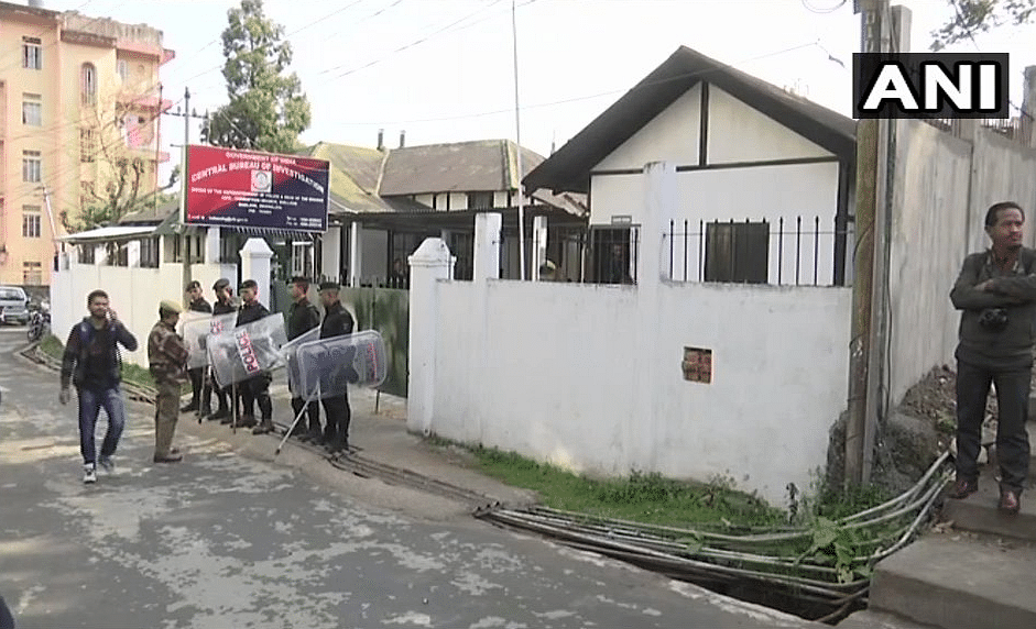 Visuals from outside the CBI office in Shillong. Kolkata Police Commissioner Rajeev Kumar will be questioned here today.