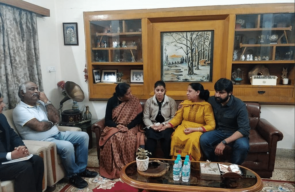 The Abrol family, with Defence Minister Nirmala Sitharaman at their home on Tuesday, 5 February.