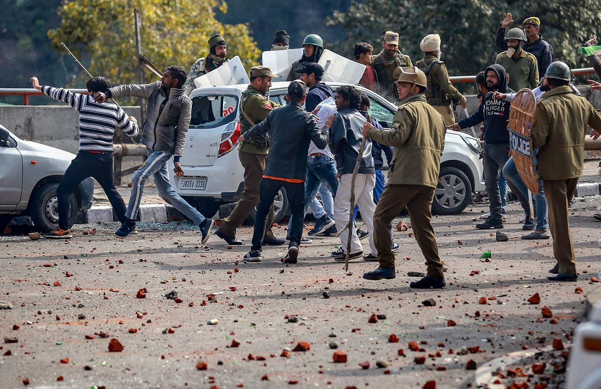 Protesters clash with police during a shutdown against the killing of CRPF personnel in the Pulwama terror attack in Jammu.