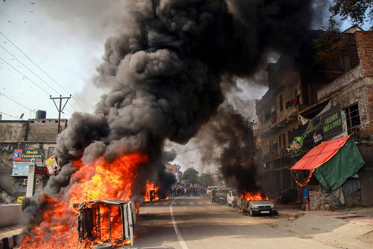 Vehicles were torched by protesters in a demonstration against the Pulwama terror attack on Friday, 15 February.