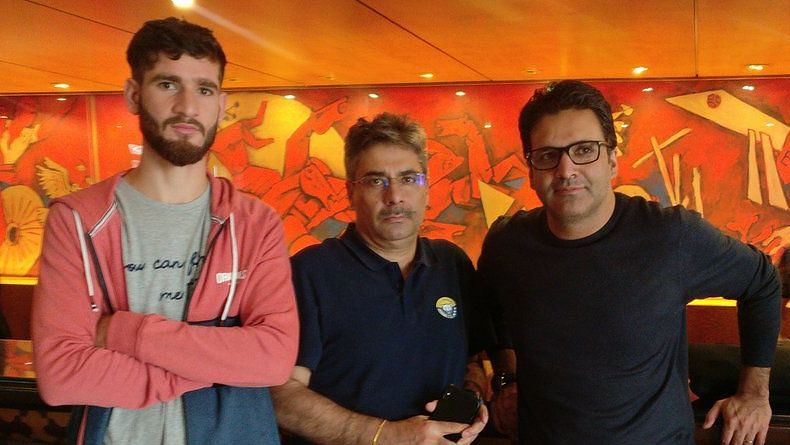Real Kashmir forward Danish Farooq (left), along with the owners Sandeep Chattoo (centre) and Shamim Meraj.