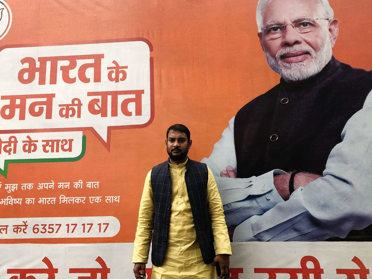 BJYM President Mukesh Singh Lodhi at his party office in Aligarh.