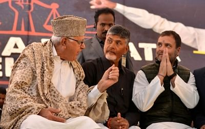 New Delhi: Congress President Rahul Gandhi and National Conference President Farooq Abdullah with Andhra Pradesh Chief Minister N. Chandrababu Naidu, who began a 12-hour long fast demanding the Centre to accord special category status and fulfill other commitments made in Andhra Pradesh Reorganisation Act, 2014, at Andhra Bhawan in New Delhi on Feb 11, 2019. (Photo: IANS)