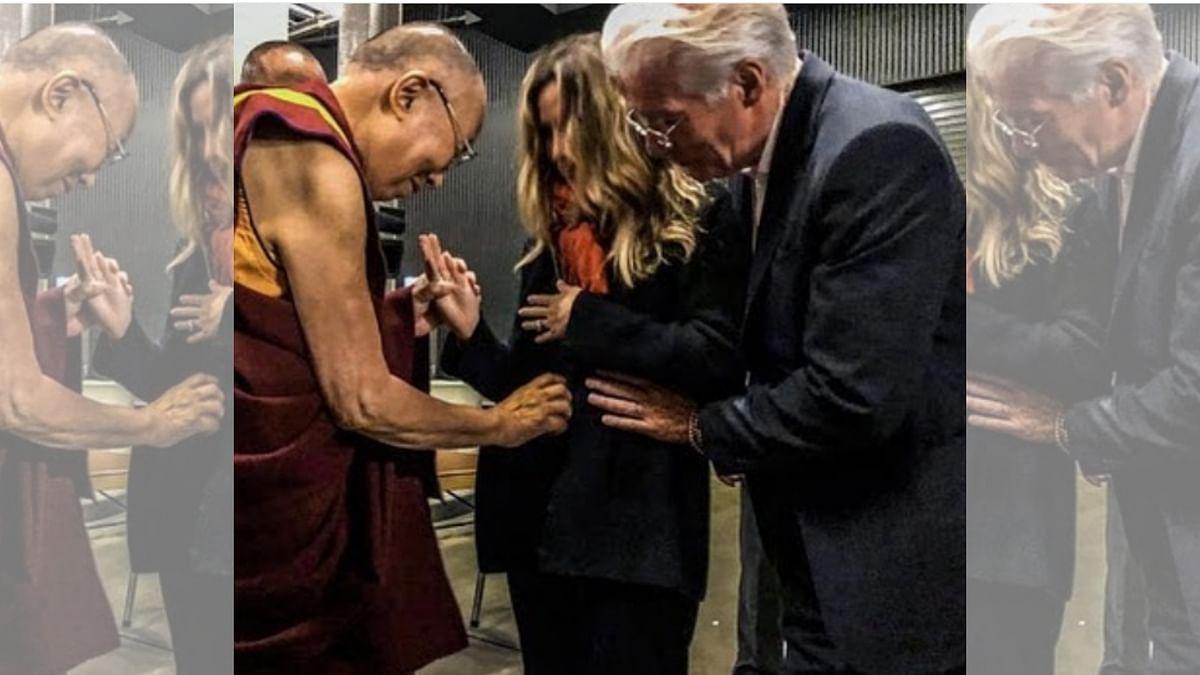 Richard Gere and his wife, Alejandra Silva, receiving blessings from the Dalai Lama.