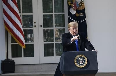 WASHINGTON, Feb. 15, 2019 (Xinhua) -- U.S. President Donald Trump speaks at the Rose Garden in the White House in Washington D.C., the United States, on Feb. 15, 2019. Trump announced Friday he will sign a national emergency to expand the U.S.-Mexico border wall and push for his signature campaign promise. (Xinhua/Hu Yousong/IANS)