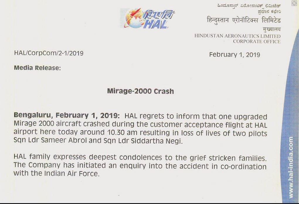 The official statement released by HAL.