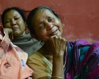 Howrah: Bonomala Santra, grief struck mother of Bablu Santra, one of the 45 CRPF personnel killed in a suicide attack by militants in Jammu and Kashmir