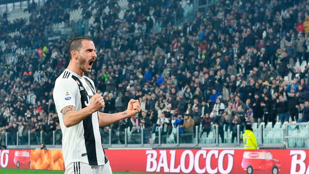Juventus's Leonardo Bonucci celebrates after scoring against Frosinone.
