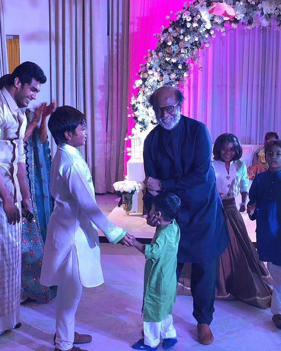Superstar Rajinikanth playing with grandson Ved.