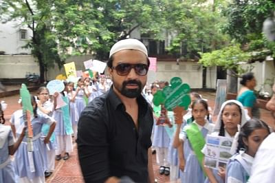 Mumbai: Actor Aijaz Khan during the tree plantation on the occasion Van Mahotsav Week at Anjuman-I-Islam Girls Gigh School, in Mumbai, on July 1, 2016.  (Photo: IANS)