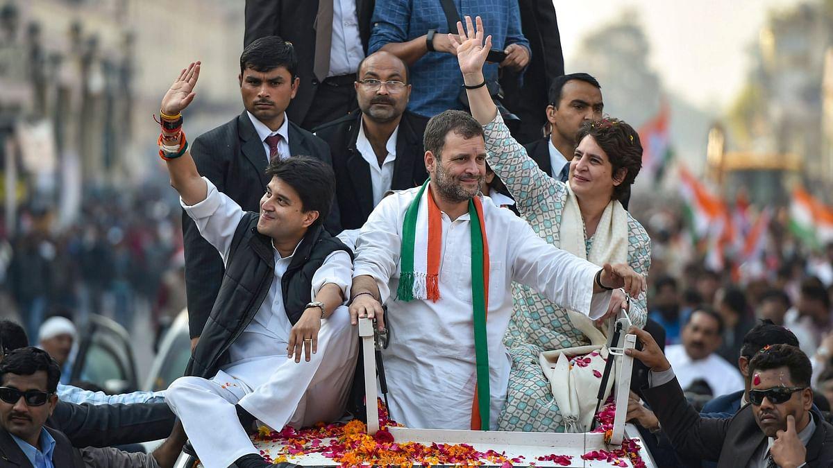 Congress President Rahul Gandhi, Priyanka Gandhi and Jyotiraditya Scindia at Congress roadshow in Lucknow.