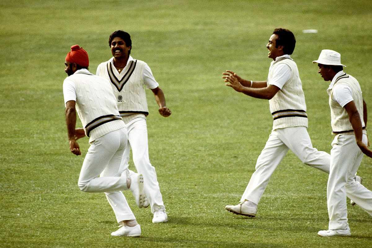 (L-R) Balwinder Singh Sandhu, Kapil Dev, Yashpal Sharma and Sunil Gavaskar celebrate the fall of a wicket during India's victorious 1983 World Cup campaign.