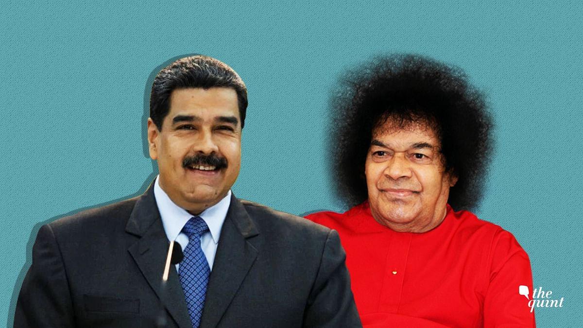 Venezuelan President Nicolas Maduro and Sathya Sai Baba.