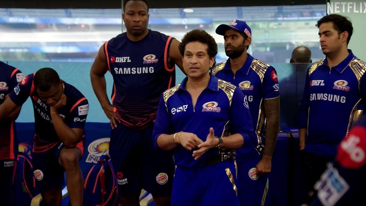 Sachin Tendulkar is seen speaking to the Mumbai Indians team during the 2018 season, in the trailer of the Netflix docu-series.