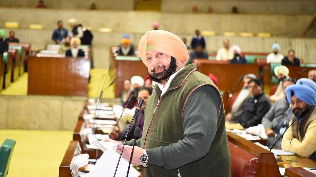 Punjab Chief Minister Amarinder Singh at the Punjab Assembly.