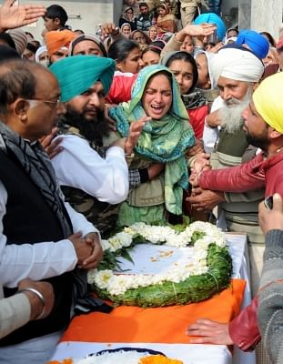 Tarn Taran: Grief struck family members of Sukhjinder Singh, one of the 49 CRPF personnel killed in a suicide attack by militants in Jammu and Kashmir
