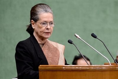 New Delhi: UPA chief Sonia Gandhi addresses at the Parliamentary Party meeting in New Delhi, on Feb 13, 2019. (Photo: IANS/AICC)