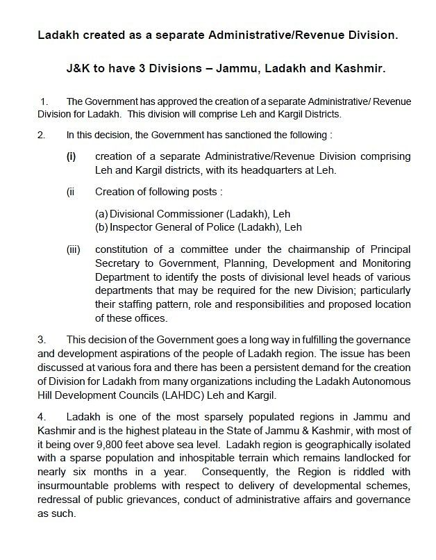 Ladakh is Now a Separate J&K Division: Here's Why it's Significant