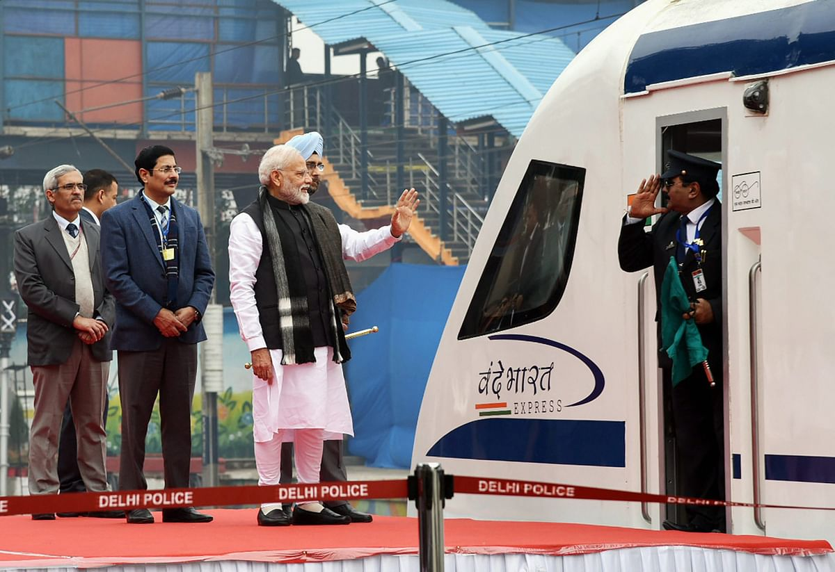 Prime Minister Narendra Modi flags off Vande Bharat Express, India's first semi-high speed train, at New Delhi Railway Station, Friday, 15 February 2019.