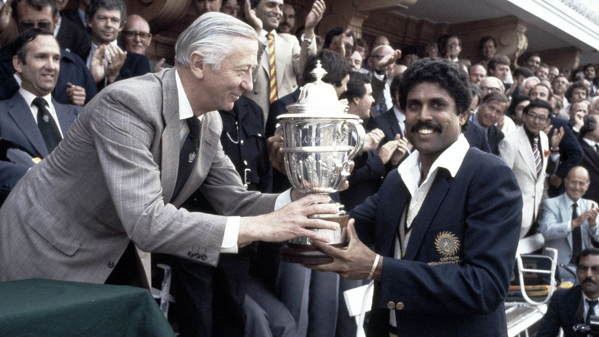 Kapil Dev holds aloft the 1983 World Cup after India beat West Indies in the final at Lord's.