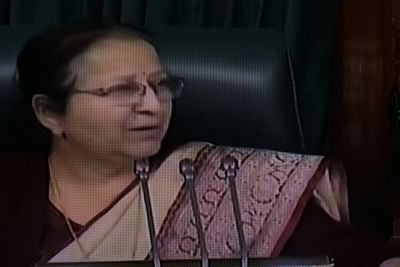 """New Delhi: Lok Sabha Speaker Sumitra Mahajan in Parliament on Jan 8, 2018. The Lok Sabha on Tuesday night passed the """"historic"""" Constitution amendment bill to provide 10 per cent quota for upper castes in government service and higher educational institutions. (Photo: LSTV/IANS)"""