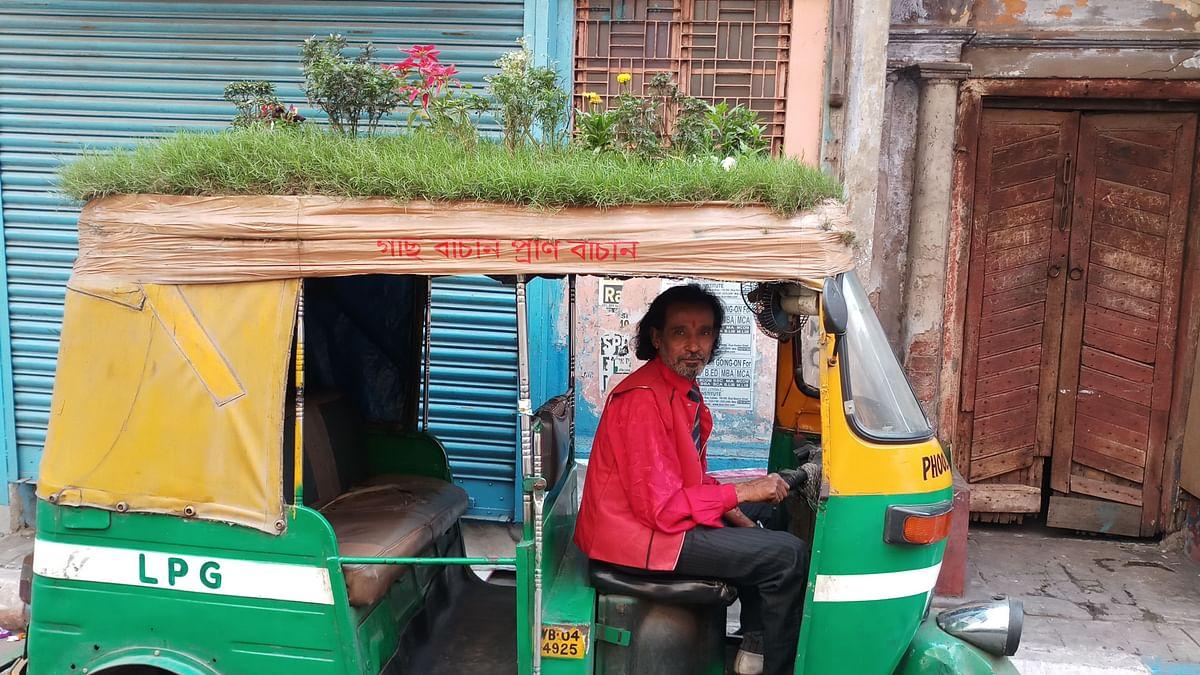 An Auto Rickshaw With a Rooftop Garden.