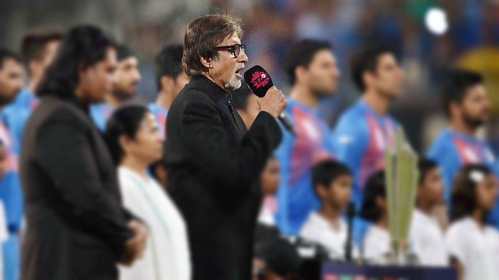 Amitabh Bachchan at Eden Gardens singing the National Anthem.