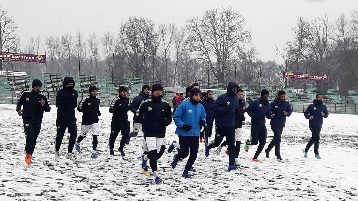 File picture of Real Kashmir FC players training at the TRC Astro Turf in Srinagar.