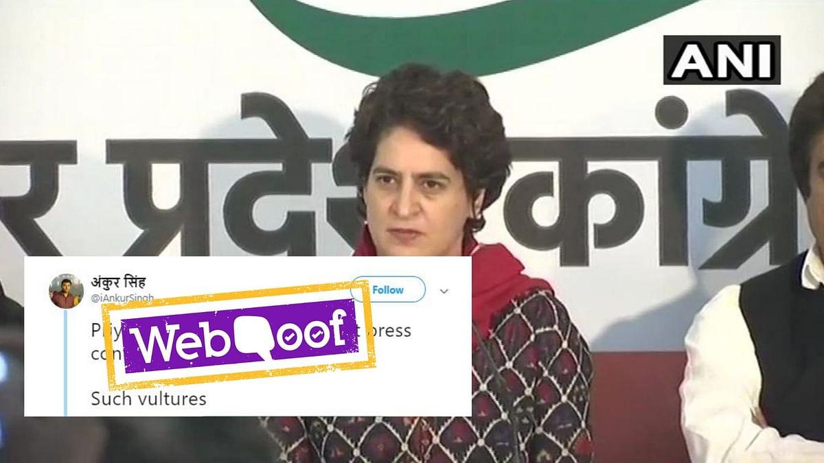 Priyanka Gandhi Did Not Laugh at  Press Meet After Pulwama Attack