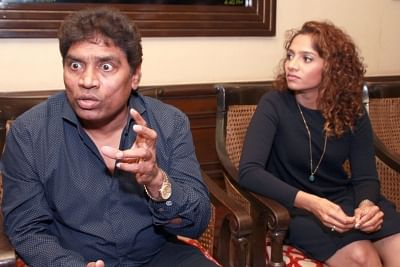 New Delhi: Actor Johnny Lever with daughter Jamie at a press meet in New Delhi on March 04, 2016. (Amlan Paliwal/IANS)