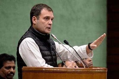 New Delhi: Congress President Rahul Gandhi addresses at the Parliamentary Party meeting in New Delhi, on Feb 13, 2019. (Photo: IANS/AICC)