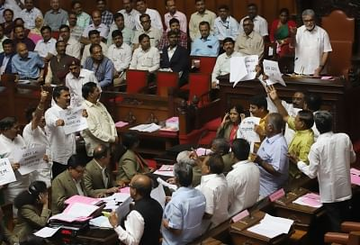 Protests by BJP legislators on Wednesday against an attack by JD-S workers on the house of one of its MLAs in Hassan forced Assembly Speaker K.R. Ramesh Kumar to adjourn the House. (Photo: IANS)