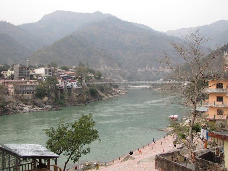 The Ganga River at Rishikesh, as it exits the Himalayas. <br>