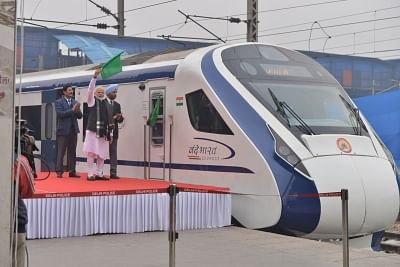 New Delhi: Prime Minister Narendra Modi during flag off Vande Bharat Express at New Delhi in New Delhi on Feb. 15, 2019. (Photo: IANS)