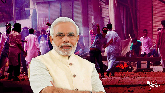 Image of PM Modi superimposed on an archival picture of stone-pelting in J&K, used for representational purposes.