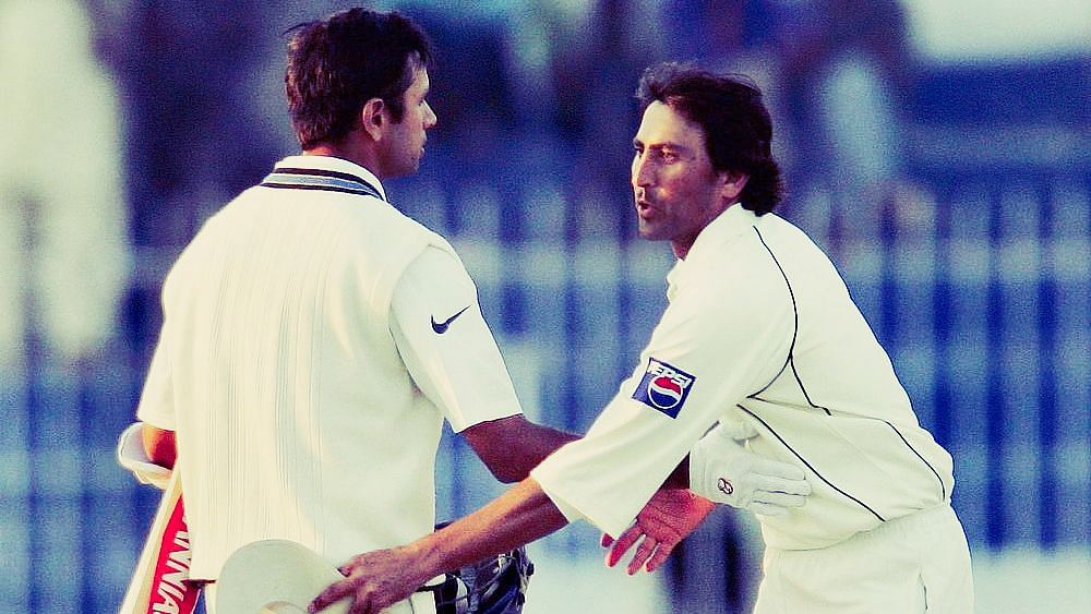 File photo of Rahul Dravid (left) and Younis Khan exchanging pleasantries during an India-Pakistan Test.