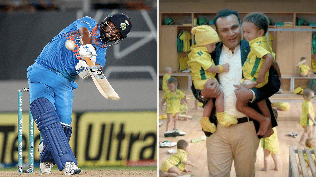 "Rishabh Pant calls Virender Sehwag an ""inspiration in cricket and babysitting""."
