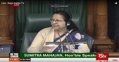 New Delhi: Lok Sabha Speaker Sumitra Mahajan during budget session of Parliament in New Delhi on Feb 1, 2019. Union Finance and Corporate Affairs Minister Piyush Goyal is presenting interim Budget for 2019-20 in the house. (Photo: IANS/RSTV)