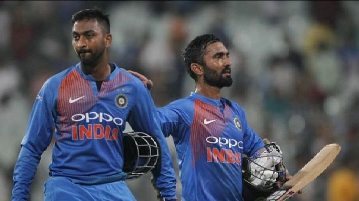 Despite a 63-run stand from Dinesh Karthik and Krunal Pandya for the seventh-wicket, India couldn't reach the target of 213.