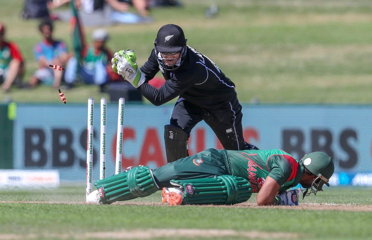 Sabbir Rahman is stumped by Tom Latham off the bowling of Mitchell Santner (unseen) during Bangladesh's loss in the first ODI vs New Zealand at Napier.