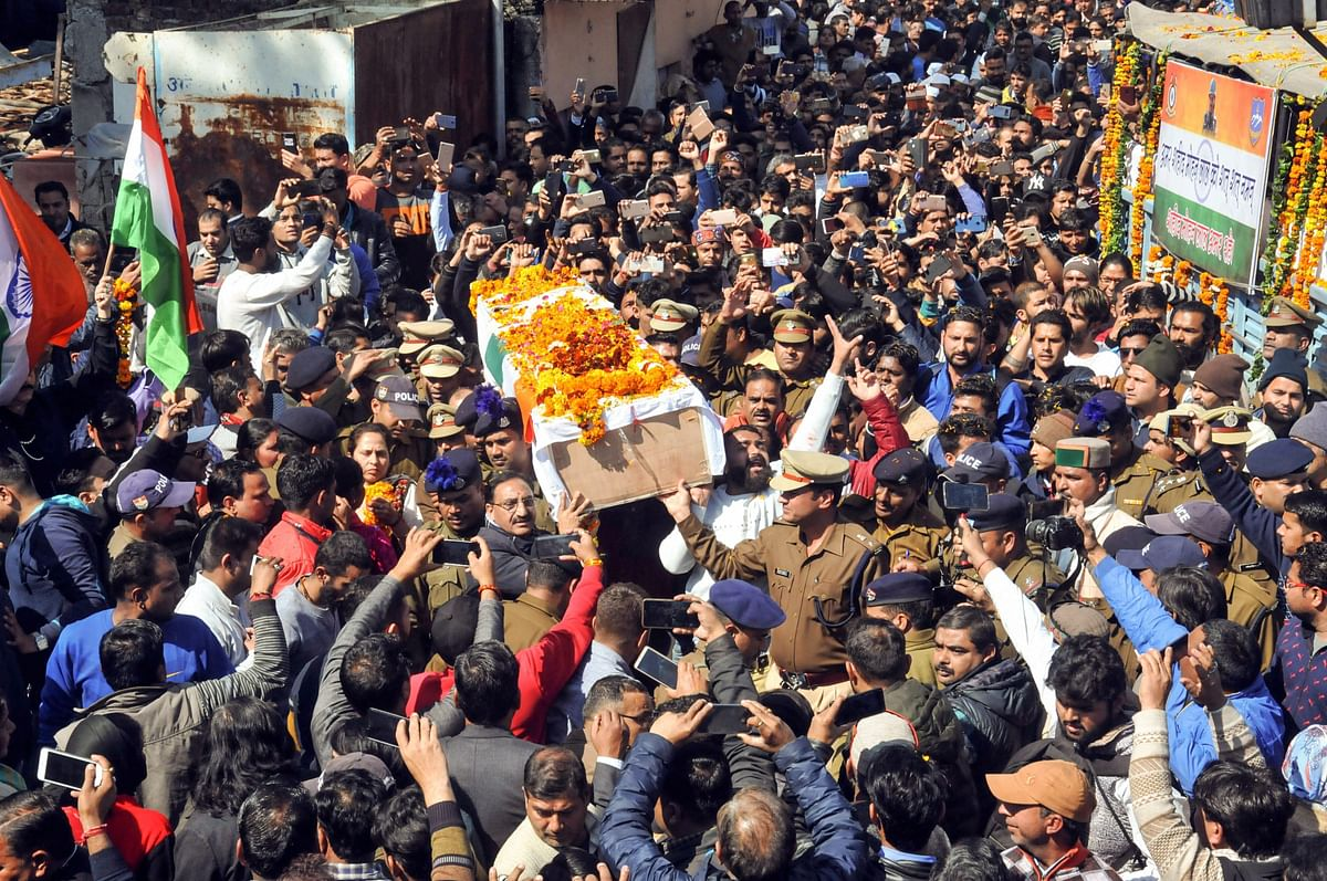 The funeral procession of CRPF jawan Mohan Lal who was killed in the Pulwama terror attack, in Haridwar.