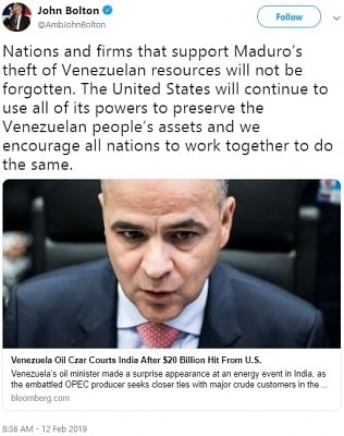 A tweet by United States National Security Adviser John Bolton threatening those doing business with Venezuela that shows a story about Venezuelan Oil Minister Manuel Quevedo