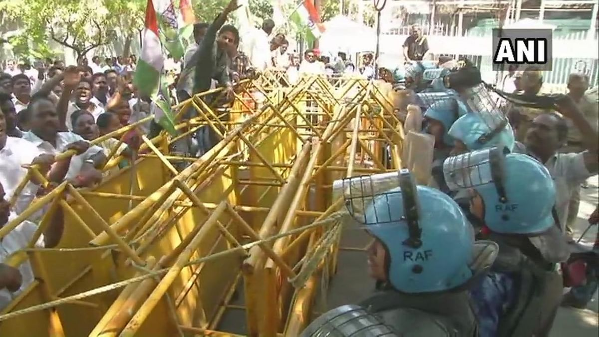 Visuals from outside Kiran Bedi's residence on Thursday. Congress workers staged protests demanding removal of Kiran Bedi as lieutenant governor.