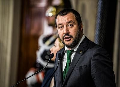 ROME, April 12, 2018 (Xinhua) -- The League party leader Matteo Salvini speaks to the media at the Quirinale Palace in Rome, capital of Italy, on April 12, 2018. The first day of the second round of Italy