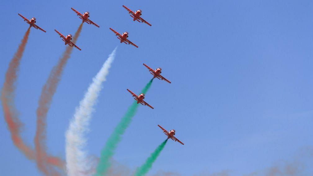 The Surya Kiran Aerobatic Team (SKAT) at Aero India 2011.
