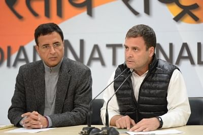 New Delhi: Congress President Rahul Gandhi addresses a press conference regarding alleged scam in Rafale deal in New Delhi on Feb 13, 2019. Also seen Congress leader Randeep Singh Surjewala  (Photo: IANS)