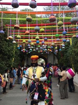 An artiste at the inauguration of 12th Jaipur Literature Festival (JLF) at Diggi Palace.