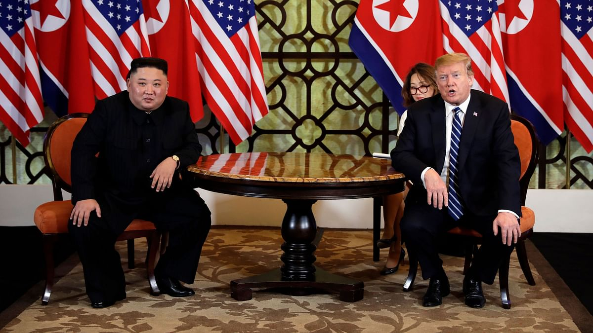 US President Donald Trump and North Korean leader Kim Jong-Un in a meeting in Hanoi.