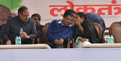 New Delhi: Congress leader Anand Sharma, Delhi Chief Minister and AAP leader Arvind Kejriwal and West Bengal Chief Minister and Trinamool Congress supremo Mamata Banerjee  during a sit-in protest against the central government at Jantar Mantar, in New Delhi, on Feb 13, 2019. (Photo: IANS)