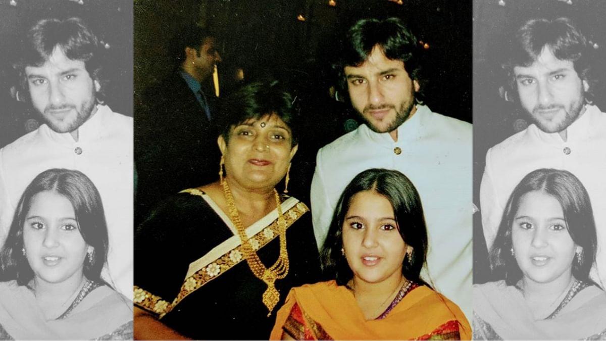 Saif and Sara Ali Khan with Veena Nagda.